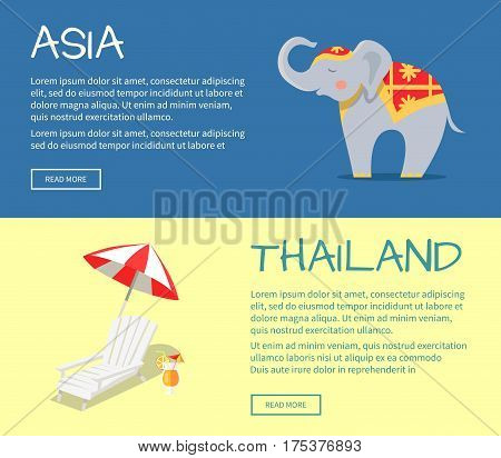 Set of Asia and Thailand web banners. Cute elephant in ornamented cape and beach chaise lounge flat vector illustrations. Horizontal concepts with Asia related symbols for travel company landing page