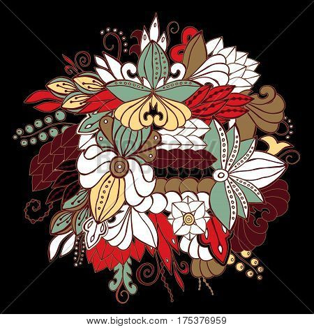 Stock Vector Abstract Hand Draw Flower And Wave, Doodle Bouquet. Oriental Or Arabic, Russia Art Back