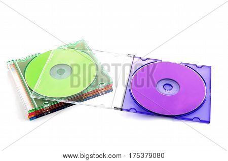 Five Colorful Compact Discs in Plastic CD Case
