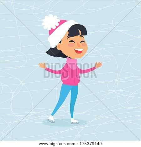 Isolated smiling cartoon girl in rosy coat, blue trousers and white-pink hat with ball. Vector illustration of happy female child spending winter holidays on icerink. Christmas entertainments in town.