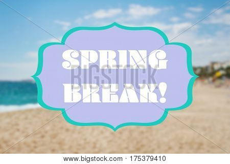 Text SPRING BREAK on blurred landscape background