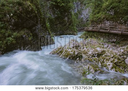 The famous Vintgar gorge Canyon with wooden boardwalk. Bled,Triglav,Slovenia,Europe