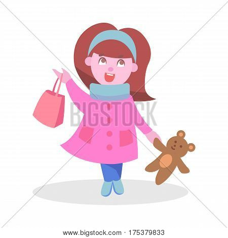 Cute girl with gag and bear toy flat vector illustration. Child shopping concept isolated on white background. Little kid cartoon character with stuffed toy. Playing child icon for ad, infographics