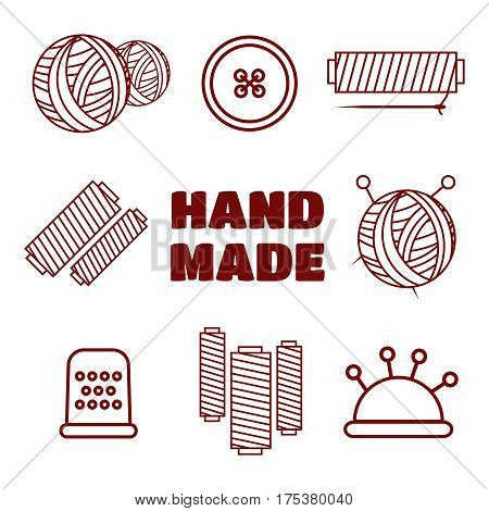 Knitting, sewing and needlework line icons. Knitting items