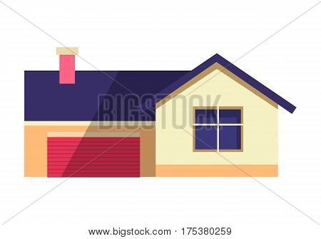 House vector illustration in flat design. Country cottage with blue roof and smoke from chimney. Dwelling for real estate concept infographic, icons or web design isolated on white background