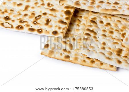 Matzoh, the jewish easter bread isolated on white