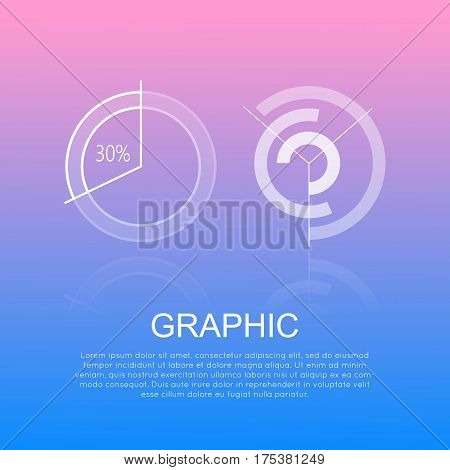 Graphic round diagrams with and without percents information on pink-blue background. Vector illustration of circular chart showing 30 percents and scheme of graph building for business project