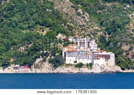 monastery at Athos, Halkidiki , Greece. View from the sea
