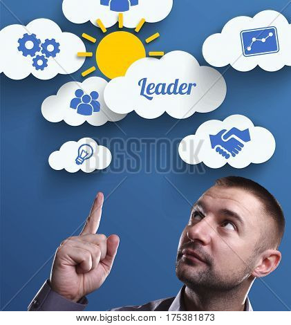 Business, Technology, Internet And Marketing. Young Businessman Thinking About: Leader