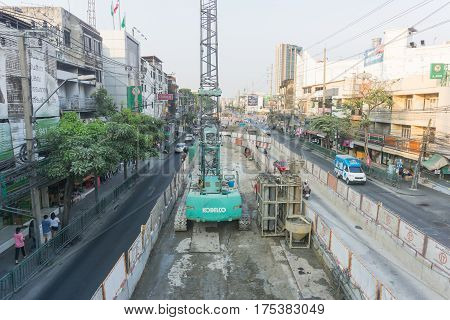 BANGKOK, THAILAND - March 5, 2017 : Traffic under construction BTS green line in Bangkok Thailand.