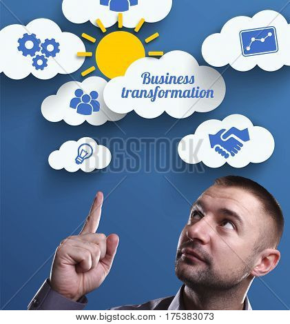 Business, Technology, Internet And Marketing. Young Businessman Thinking About: Business Transformat