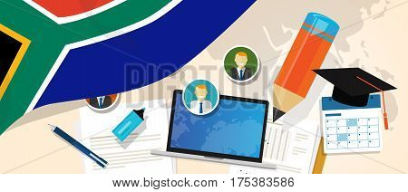 South Africa education school university concept with icon laptop paper pencil cap student vector