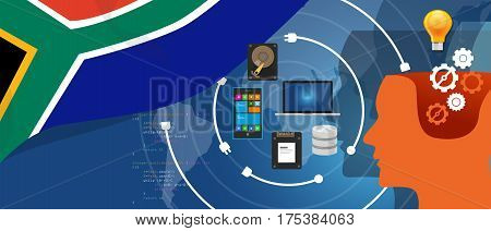 South Africa IT information technology digital infrastructure connecting business data via internet network using computer software an electronic innovation vector