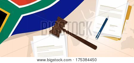 South Africa law constitution legal judgment justice legislation trial concept using flag gavel paper and pen vector