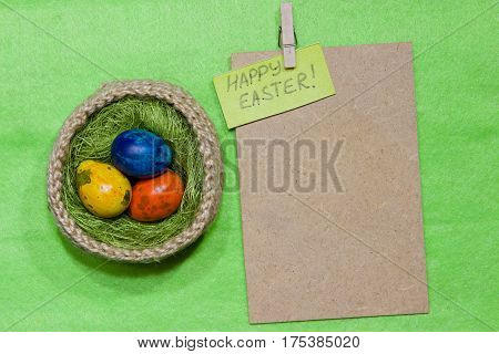 Easter Eggs In A Basket. Painted Quail Eggs.