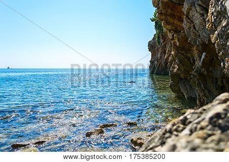 Montenegro, Adriatic sea, early autumn, a beautiful rock coast against the sea