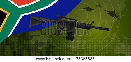 South Africa military power army defense industry war and fight country national celebration with gun soldier jet fighter and radar vector