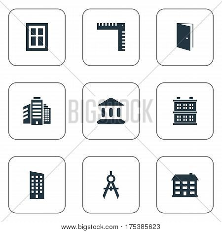 Vector Illustration Set Of Simple Structure Icons. Elements Superstructure, Block, Engineer Tool And Other Synonyms Block, Open And Estates.