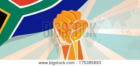South Africa fight and protest independence struggle rebellion show symbolic strength with hand fist illustration and flag vector