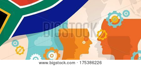 South Africa concept of thinking growing innovation discuss country future brain storming under different view represented with heads gears and flag vector