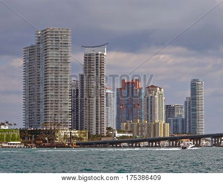 Miami Beach Luxury Condominiums Overlooking the Florida Intra-coastal Waterway and Biscayne Bay.