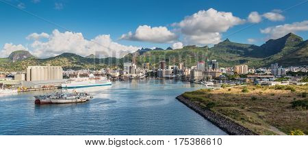 Port Louis Mauritius - December 12 2015: Panoramic view of the Bay of Port Louis Mauritius. The city is the country's economic cultural political centre and most populous city.