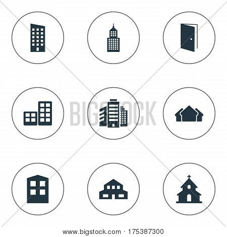 Vector Illustration Set Of Simple Construction Icons. Elements Structure, Residential, Popish And Other Synonyms Premises, Construction And Building.