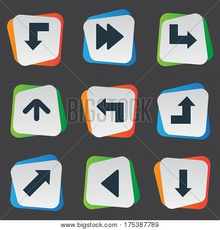 Vector Illustration Set Of Simple Pointer Icons. Elements Downwards Pointing, Upward Direction, Increasing And Other Synonyms Down, Increasing And Arrow.