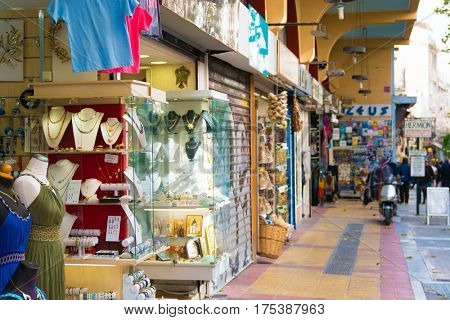 Athens Greece, January 14, 2017. Street market in Athens Greece