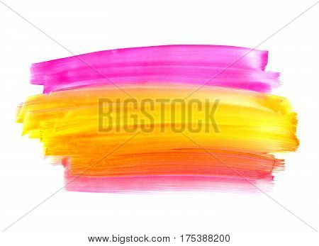 Bright watercolor paint shape on white background