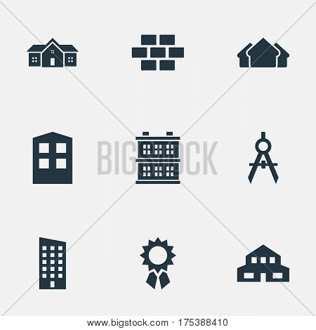 Vector Illustration Set Of Simple Architecture Icons. Elements Engineer Tool, Floor, Construction And Other Synonyms House, Scale And Compass.