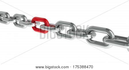 Chain with red link - concept particular person three-dimensional rendering 3D illustration