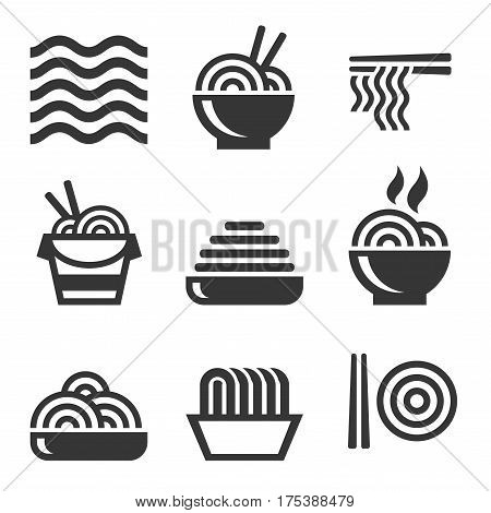 Noodle Icons. Asian Food Bar Logos Set. Vector illustration