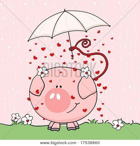 cute pig in rain