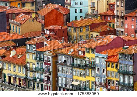 Bright old buildings in Ribeira district of Porto on the bank of Douro river, Portugal