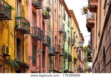 Colorful street in Bosa old town, Sardinia, Italy