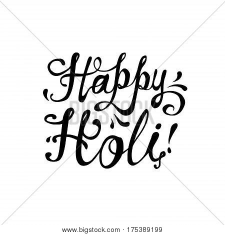Happy Holi! Flat hand written vector inscription