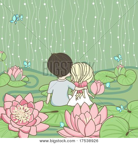 sitting on the water lily