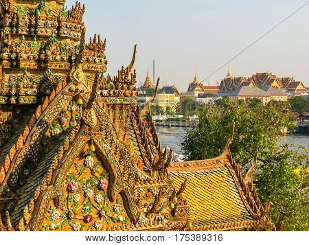 Details of exterior finish of the ancient Wat Arun Temple or Temple of Dawn. Wat Arun Temple, Bangkok, Thailand