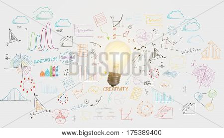lightbulb business wall background. concept for new ideas with innovation and creativity.