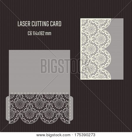 DIY laser cutting vector envelope. Wedding die cut invitation template. Cutout silhouette card. Scrapbook carved paperwork.