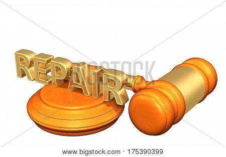 Repair Legal Gavel Concept 3D Illustration