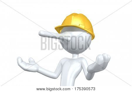 The Original 3D Character Illustration Construction Worker With A Growing Nose