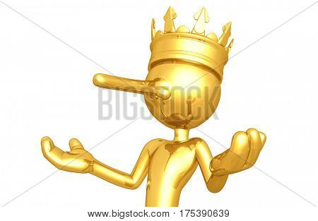 The Original 3D Character Illustration King With A Growing Nose