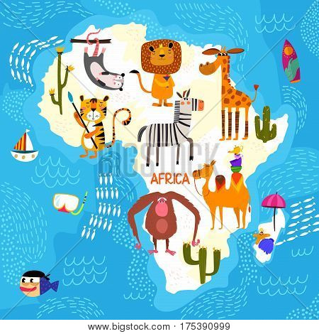 Cartoon World Map With Traditional Animals. Illustrated Map Of Africa.vector Illustration For Childr