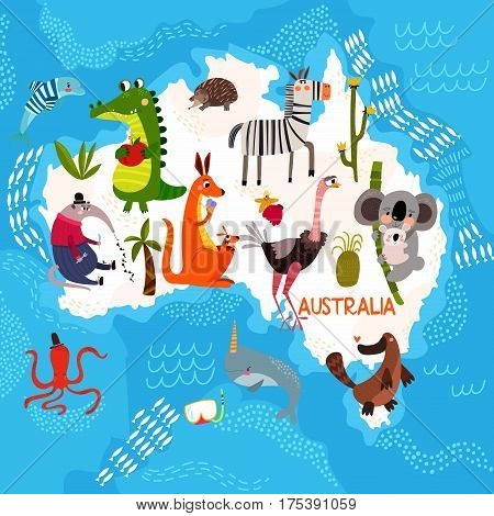 Cartoon World Map With Traditional Animals. Illustrated Map Of Australia.vector Illustration For Chi
