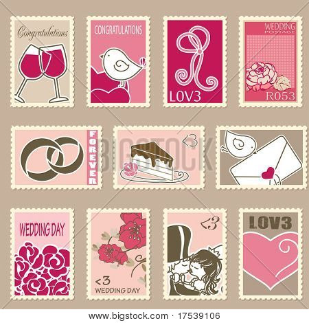 wedding postage stamps set
