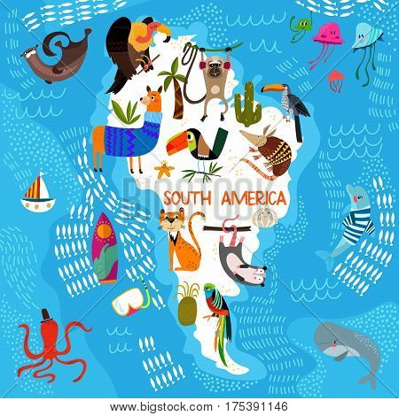 Cartoon World Map With Traditional Animals. Illustrated Map Of South America.vector Illustration For