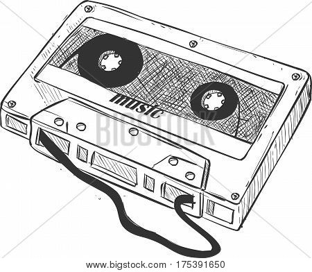 Vector Illustration Cassette Tape Collection isolated on a white background.