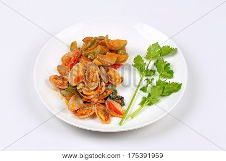 Stir Fried Clams  And Eggplant With Roasted Chile Paste.